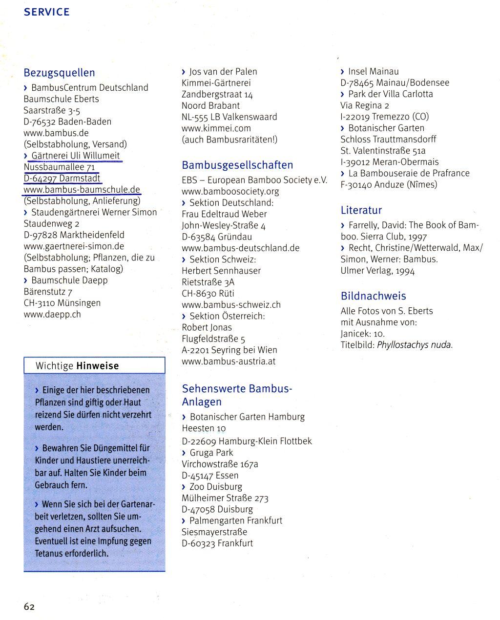 Die Empfehlung der Bambus Baumschule Willumeit als Eintrag im Bambus Buch